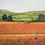 Harvesting In The Cotswolds Art Print