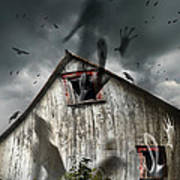 Haunted Barn With Ghosts Flying And Dark Skies Art Print by Sandra Cunningham