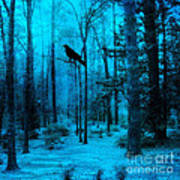 Haunting Dark Blue Surreal Woodlands With Crow  Art Print by Kathy Fornal