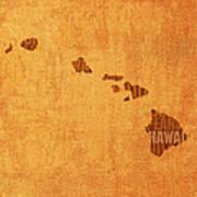 Hawaii Word Art State Map On Canvas Art Print