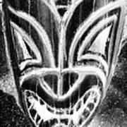 Hawaiian Mask Negative Black And White Art Print