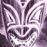 Hawaiian Mask Negative Pink Art Print
