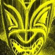 Hawaiian Mask Negative Yellow Art Print