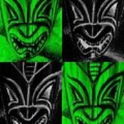 Hawaiian Masks Black Green Art Print