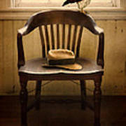 Hawk And Fedora On Chair Art Print