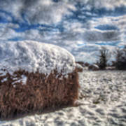 Hay Bale In The Snow Art Print