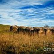 Hay Bales And Contrails Art Print