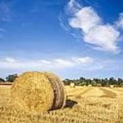 Hay Bales Under Deep Blue Summer Sky Art Print