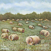 Haybales In The Field Art Print by Vic  Mastis