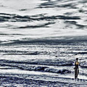Hdr Black White Color Effect Fisherman Beach Ocean Sea Seascape Landscape Photography Image Photo  Art Print
