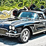 Chevrolet Corvette Vintage With Curly Background Art Print