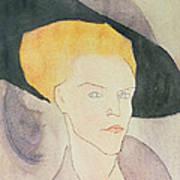 Head Of A Woman Wearing A Hat Art Print