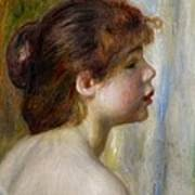 Head Of A Young Woman Art Print by Pierre Auguste Renoir