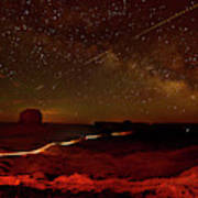 Headlights And Buttes In Monument Art Print