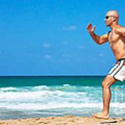 Healthy Man Running On The Beach Print by Anna Om