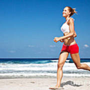 Healthy Woman Running On The Beach Print by Anna Om