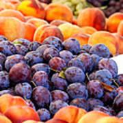 Heap Of Fresh Organic Peaches And Damson Plums  Art Print