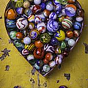 Heart Box Full Of Marbles Art Print