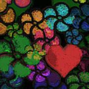 Heart In Flowers Art Print