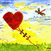 Heart Kite Art Print