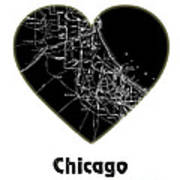 Heart Map Chicago Art Print