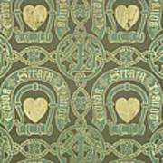 Heart Motif Ecclesiastical Wallpaper Art Print