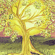 Heart Of Gold Tree By Jrr Art Print