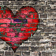 Heart On The Old Wall Art Print