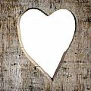 Heart Shape Carved Into A Plank Art Print