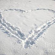 Heart Shape In Snow Art Print