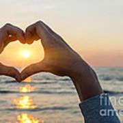 Heart Shaped Hands Framing Ocean Sunset Art Print
