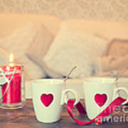 Heart Teacups Art Print