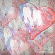 Hearts 15 Square Art Print