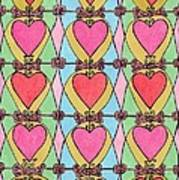 Hearts A'la Stained Glass Art Print