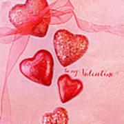 Hearts And Ribbon - Be Mine Art Print