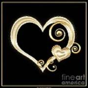 Hearts In Gold And Ivory On Black Art Print