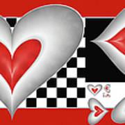 Hearts On A Chessboard Art Print