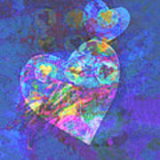 Hearts On Blue Print by Ann Powell