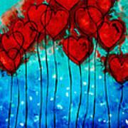 Hearts On Fire - Romantic Art By Sharon Cummings Art Print