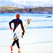 Heaven Is On A Wave - Surfer At Newquay Art Print by Mark E Tisdale