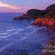 Heceta Head Lighthouse At Sunset Oregon Coast Art Print