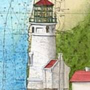Heceta Head Lighthouse Or Nautical Chart Map Art Cathy Peek Art Print