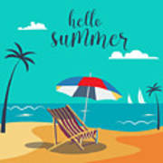 Hello Summer Poster. Tropical Beach Art Print