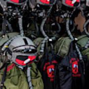 Helmets And Flight Gear Of Hellenic Air Art Print