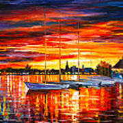 Helsinki Sailboats At Yacht Club Art Print by Leonid Afremov