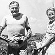 Hemingway, Wife And Pets Art Print by Underwood Archives