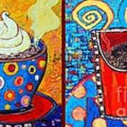 Her And His Coffee Cups Art Print