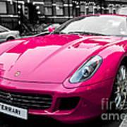 Her Pink Ferrari Art Print by Matt Malloy