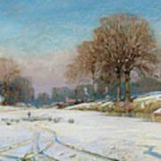 Herding Sheep In Wintertime Art Print by Frank Hind