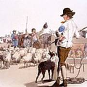 Herdsmen Of Sheep And Cattle, From The Art Print by William Henry Pyne